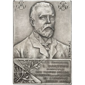 IIIe République (1870-1940). Médaille, Louis Barthou, ministre des Travaux publics en souvenir de la Promotion de l'Aviation par Tony Szirmaï 1909, Paris.