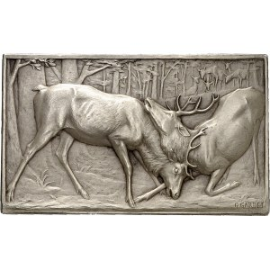 IIIe République (1870-1940). Médaille, Combat de cerfs par Georges Gardet, SAMF n° 39 1900, Paris.