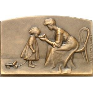 IIIe République (1870-1940). Médaille, le goûter ou le bol de lait par Geneviève Granger, SAMF n° 54 1907, Paris.