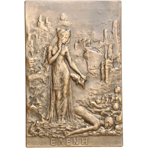 IIIe République (1870-1940). Médaille, Hélène dans les ruines de Troie par René Grégoire, SAMF n° 46 1909, Paris.