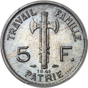 État Français (1940-1944). Essai de 5 francs Pétain, type adopté en cupro-nickel, 5 large 1941, Paris.