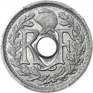 Gouvernement provisoire de la République française (1944-1946). Épreuve sans le mot ESSAI de 10 centimes Lindauer, petit module, en aluminium 1946, Paris.