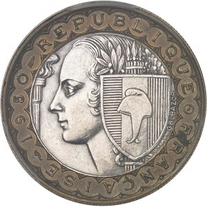 IVe République (1947-1958). Essai bimétallique (cupro-aluminium / cupro-nickel) de 100 francs Bazor 1950, Paris.
