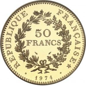 Ve République (1958 à nos jours). Piéfort de 50 francs Hercule, Flan bruni (PROOF) 1974, Paris.