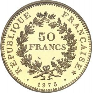 Ve République (1958 à nos jours). Piéfort de 50 francs Hercule, Flan bruni (PROOF) 1975, Pessac.