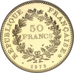 Ve République (1958 à nos jours). Piéfort de 50 francs Hercule, Flan bruni (PROOF) 1979, Pessac.