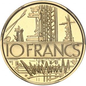 Ve République (1958 à nos jours). Piéfort de 10 francs Mathieu, Flan bruni (PROOF) 1974, Paris.