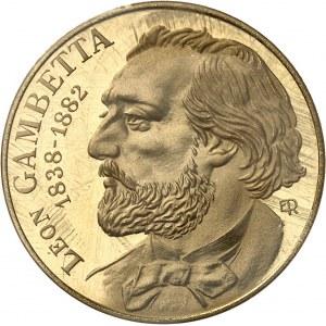 Ve République (1958 à nos jours). Piéfort de 10 francs Gambetta en Or, Flan bruni (PROOF) 1982, Pessac.