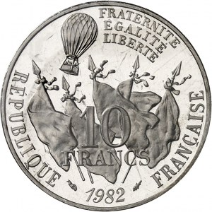 Ve République (1958 à nos jours). Piéfort de 10 francs Gambetta en Platine, Flan bruni (PROOF) 1982, Pessac.