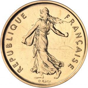 Ve République (1958 à nos jours). Piéfort de 5 francs Semeuse, Flan bruni (PROOF) 1972, Paris.