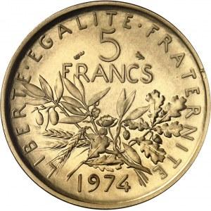 Ve République (1958 à nos jours). Piéfort de 5 francs Semeuse, Flan bruni (PROOF) 1974, Paris.