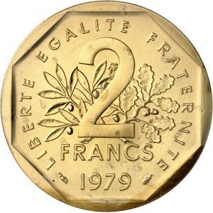 Ve République (1958 à nos jours). Piéfort de 2 francs Semeuse en Or 1979, Pessac.