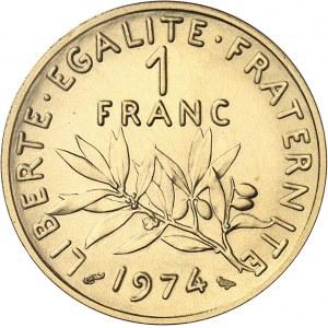 Ve République (1958 à nos jours). Piéfort de 1 franc Semeuse, Flan bruni (PROOF) 1974, Paris.