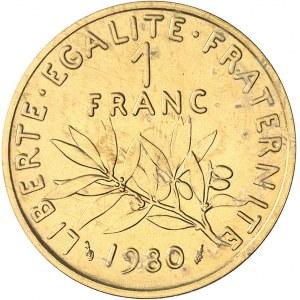 Ve République (1958 à nos jours). Piéfort de 1 franc Semeuse en Or 1980, Pessac.