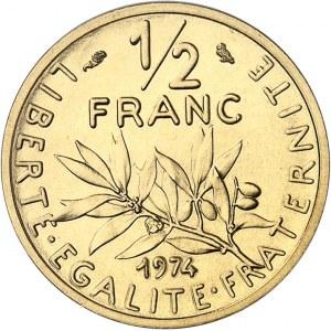 Ve République (1958 à nos jours). Piéfort de 1/2 franc Semeuse, Flan bruni (PROOF) 1974, Paris.