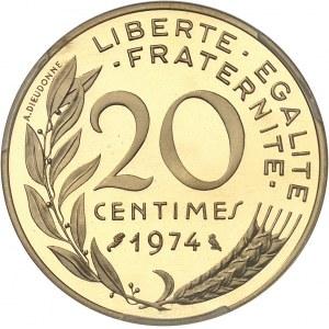 Ve République (1958 à nos jours). Piéfort de 20 centimes Marianne, Flan bruni (PROOF) 1974, Paris.