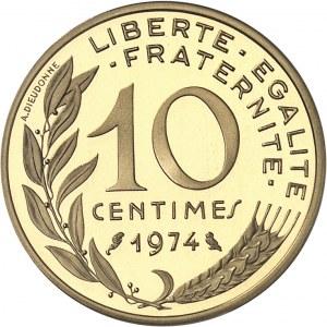 Ve République (1958 à nos jours). Piéfort de 10 centimes Marianne, Flan bruni (PROOF) 1974, Paris.