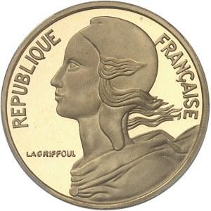 Ve République (1958 à nos jours). Piéfort de 5 centimes Marianne, Flan bruni (PROOF) 1974, Paris.