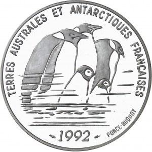 Terres Australes et Antarctiques Françaises. Piéfort de 100 francs Dumont d'Urville en argent, Flan bruni (PROOF) 1992, Pessac.