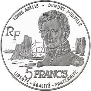 Terres Australes et Antarctiques Françaises. Piéfort de 5 francs Dumont d'Urville en argent, Flan bruni (PROOF) 1992, Pessac.