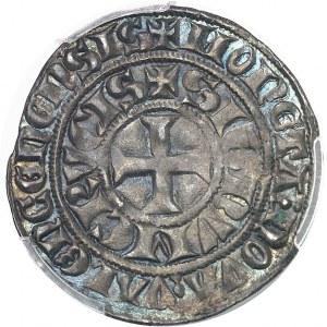 Hainaut (comté de), Guillaume Ier (1304-1337). Petit gros (ou demi-gros) au cavalier ND (1304-1337), Valenciennes.