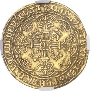Henri VI d'Angleterre (1422-1453). Noble d'or, au drapeau, 1ère émission à l'annelet ND (1422-1430), Calais.