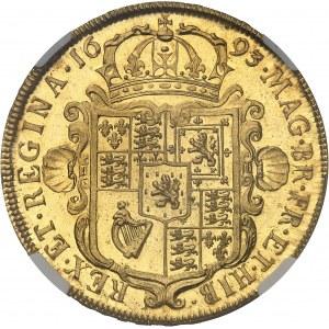 Guillaume et Marie (1689-1694). 5 guinées, aspect Flan bruni (PROOFLIKE) 1693, Londres.