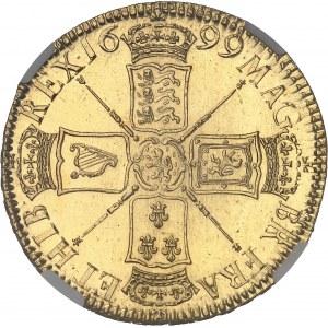 Guillaume III (1694-1702). 5 guinées à l'éléphant et au château 1699, Londres.