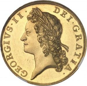 Georges II (1727-1760). 5 guinées, Flan bruni (PROOF) 1731, Londres.