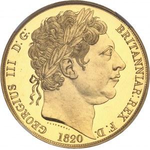 Georges III (1760-1820). Essai de 5 livres (5 pounds), tranche lisse, Flan bruni (PROOF) 1820, Londres.
