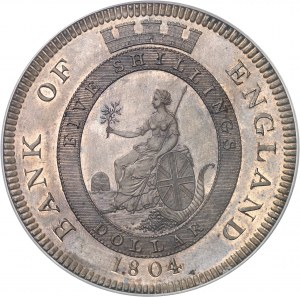 Georges III (1760-1820). Essai du dollar, Banque d'Angleterre, Flan bruni (PROOF) 1804, Londres.