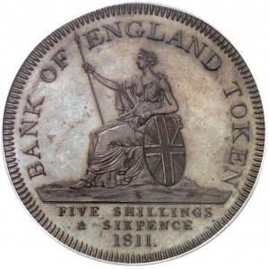 Georges III (1760-1820). Essai du dollar [5 shillings 6 deniers], Banque d'Angleterre, Flan bruni (PROOF) 1811, Londres.