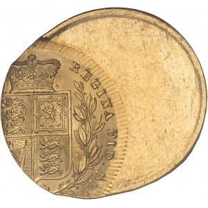 Victoria (1837-1901). Souverain, frappe décentrée 50 % 1863, Londres.