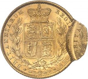 Victoria (1837-1901). Souverain, coin #11, double frappe, la seconde décalée de 85 % 1863, Londres.