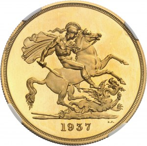 Édouard VIII (20 janvier au 11 décembre 1936). Essai de 5 livres (5 pounds), Flan bruni (PROOF) 1937, Londres.
