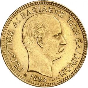 Georges Ier (1863-1913). 20 drachmes Or 1884, A, Paris.