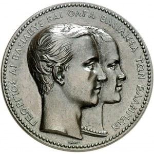Georges Ier, Roi des Hellènes (1863-1913). Médaille, naissance de Constantin, fils de Georges de Grèce et d'Olga Constantinova de Russie, par Barre ND (1867), Paris.