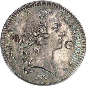 Louis XV (1715-1774). Jeton de 30 sous contremarqué MG pour Marie-Galante par Roëttiers ND (1754), Paris.