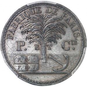 Charles X (1824-1830). Épreuve uniface de jeton de jeux pour le Cercle du Commerce, par Piollet et Compagnie ND (1827 ?), Pointe-à-Pitre ?