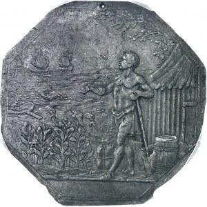 Louis XVI (1774-1792). Cliché en étain uniface de revers du jeton de la Compagnie de la Guyan[n]e française, sans légende ND (1774-1793 ?), Paris.