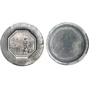 Ve République (1958 à nos jours). Paire d'épreuves en étain du jeton de la Compagnie de la Guyan[n]e française à l'effigie de Louis XV ND (1985), Paris.