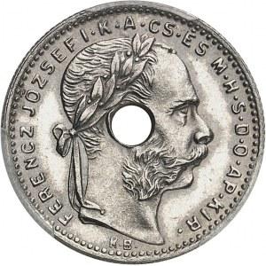 François-Joseph Ier (1848-1916). Essai de 20 francs / 8 forint, avec perforation centrale 1892, KB, Kremnitz.