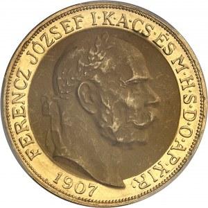François-Joseph Ier (1848-1916). 100 kronen, 40e anniversaire du couronnement à Budapest 1907, Kremnitz.