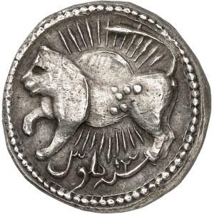 Empire Moghol, Jahangir (Nur-ud-din Muhammad Salim) (1605-1627). Roupie zodiacale au signe du lion AH 1027-13 (1618), Ahmedabad.