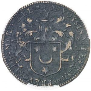 Louis XIV (1643-1715). Jeton pour la création de la Première Compagnie des Indes orientales, au nom de Daniel Voysin, prévôt des marchands de Paris pour la 2e fois 1665, Paris.