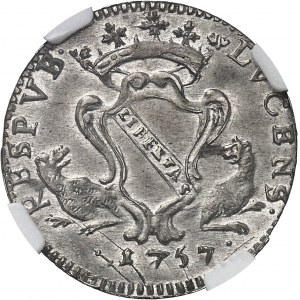 Lucques (république de) (1369-1799). Gros ou barbone de 12 soldi, 2e type 1757, Lucques.