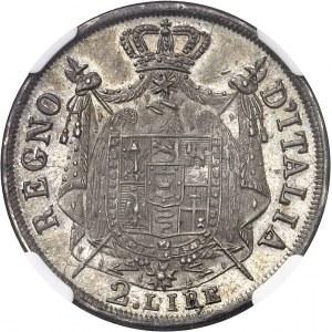 Milan, royaume d'Italie, Napoléon Ier (1805-1814). 2 lire, tranche en relief 1811/01, M, Milan.