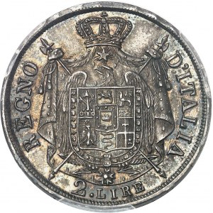 Milan, royaume d'Italie, Napoléon Ier (1805-1814). 2 lire, tranche en relief 1813/83, M, Milan.