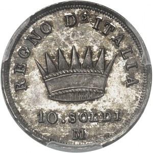 Milan, royaume d'Italie, Napoléon Ier (1805-1814). 10 soldi 1814, M, Milan.