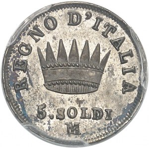 Milan, royaume d'Italie, Napoléon Ier (1805-1814). 5 soldi 1814, M, Milan.